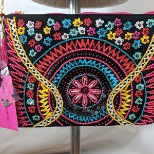 NEW Betsy Johnson Clutch Crossbody Beaded Colorful